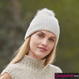 Laine Katia Polar Modèle Bonnet à pompon Merino Aran et Polar