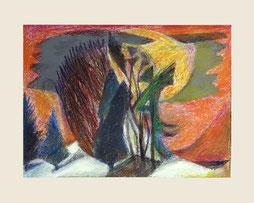 """""""Bäume abstrakt"""", 2015, Mischtechnik 30 x 40 cm"""