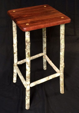 Blackwood & soap tree saplings stool, 66cm high, seat 33cm x 33cm, oil & wax finish, $250 each
