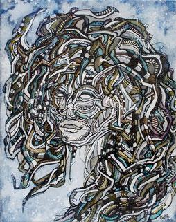 Matt.B / Untitled 100 / acrylic & ink on canvas / 24/30 cm / 2011