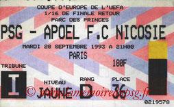 Ticket  PSG-Apoel Nicosie  1993-94
