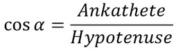 Formel für die Berechnung des Winkels mithilfe des Cosinus