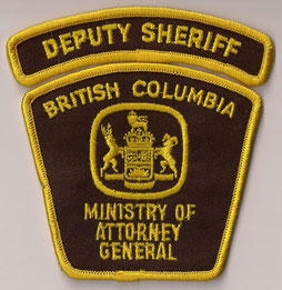 Deputy Sheriff - British Columbia - Ministry of Attorney General  (Vieux / Old)  (Usagé / Used)  1x