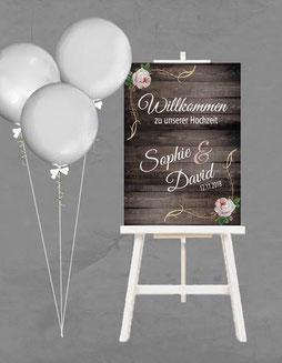 Schild Poster Schilder Hochzeit Willkommen Welcome Wedding Namen Staffelei