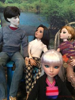 "Tonner Ellowyne dolls, and 18"" Tonner men. Harry Potter doll, Edward Cullen doll, Peter Parker doll."