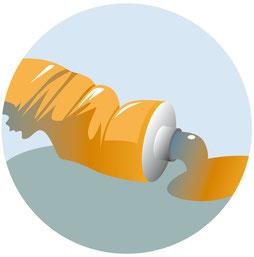 Eine Tube mit Farbe wird ausgedrückt. Vektor Illustration. Adobe Illustrator.