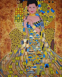 "Hommage an Gustav Klimts Bild ""Adele Bloch-Bauer I"", 80 x 100 cm, November 2010, Acryl auf Leinwand"