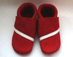 rote Lederpuschen, Krabbelschuhe nach Maß, Babyschuhe, Lauflernschuhe, Puschen