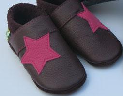 Sterne Lederschuhe Mädchenschuhe, Handgemachte Puschen nach Maß