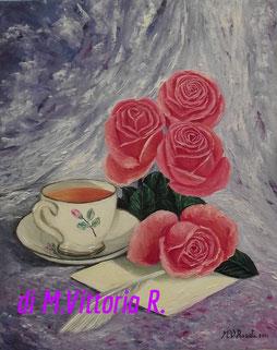composizione con rose, olio su tela cm 40x50 anno 2011 collezione privata