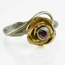 Rose Flower Ring - 18ct White & Red Gold with a Ruby