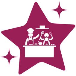 Icône étoile avec cours de cuisine dessiné et lien vers la page des ateliers en présentiel