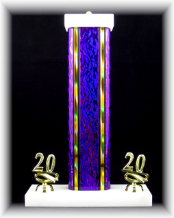 "Single Wide Column Trophy with Trim, 7.5"" Base"