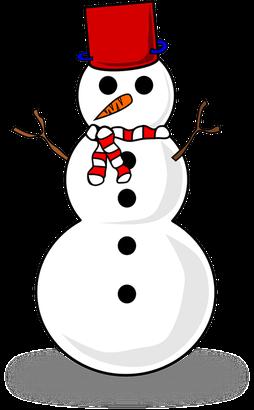 Schneemann mit Schal Mütze und orangener Möhre als Nase.
