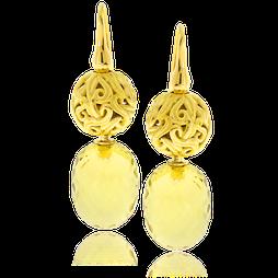 Ohrhänger in Gelbgold mit Citrinen aus der Lilly Rose Exchangeables Kollektion der Goldschmiede OBSESSION Zürich und Wetzikon