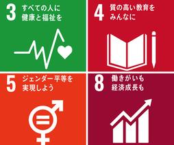 3.すべての人に健康と福祉を/4.質の高い教育をみんなに/5.ジェンダー平等を実現しよう/8.働きがいも経済成長も