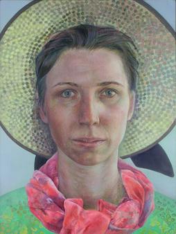 Selbst als Urlauberin (Selbst mit Sonnenhut), 2004. (Tempera / Öl / Holz, 40 x 30 cm)