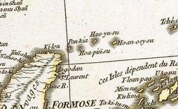 【地図説明】(仏)ダンビル製作、1752年、Seconde partie de la carte d'Asie(アジア図第二)ラムゼー・コレクション(2603006番)より(www.davidrumsey.com)・中央やや上に「HAOーYUーSU」とある。尖閣と先島諸島と台湾東岸が黄土色、台湾西岸以西が桃色に近い。同コレクションは他に5749003・4607050・2310070・6830072各番でも中国は先島及び尖閣と異なる色。(石井准教授調べ)