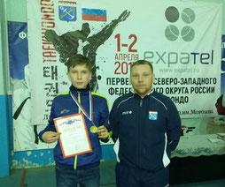 Сергей Владимиров с тренером Денисом Топузиди