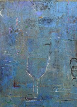 夜空のワイングラス (2018)       Acryl / 29x21cm