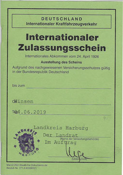 Internationaler Zulassungsschein