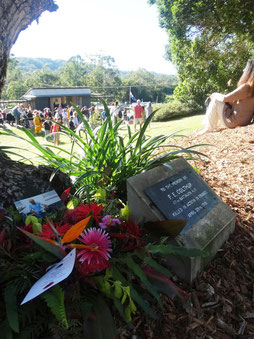 Looking from the Colthup memorial tree plaque to the ANZAC DAY ceremony in Eumundi Amphitheatre 2016