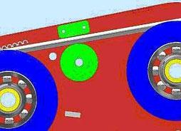 Seileinlaufbremse - Anpressrolle drückt Seil gegen Bremsklotz