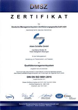 Schaäffer Gmbh, Zertifikat DIN EN ISO 9001:2015