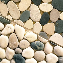 Cream, grey, and green pebbles, one half are round pebbles and half are flat pebbles