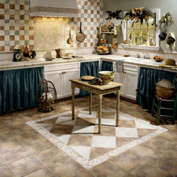 A country-style kitchen with browns, beiges, and blues.