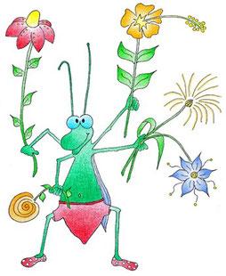 Dankeskarte Grashüpfer mit Blumen