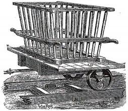 Illustration du support à civières utilisé dans la ferme Heddebault (1871)