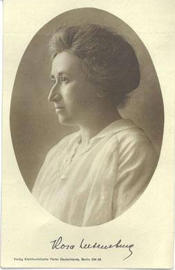 Rosa Luxemburg (1871-1919). Ermordet am 15. Januar zusammen mit Karl Liebknecht von Soldaten der Garde-Kavallerie-Schützen-Division unter dem Kommando von Waldemar Pabst. Sie wird schnell zur Ikone.  Städtisches Museum Göttingen
