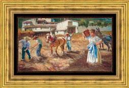 cuadro pintado a mano con figuras