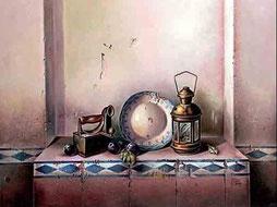cuadro pintado a mano de un bodegón