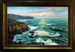 cuadro pintado a mano de una marina