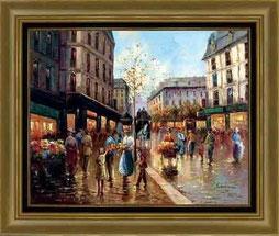 cuadro pintado a mano de una calle