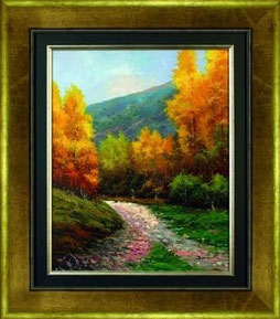 cuadro pintado a mano de un paisaje