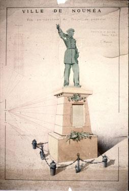 Projet Mahoux pour le socle de la statue du gouverneur Olry (Mairie de Nouméa, encre rehaussée d'aquarelle)