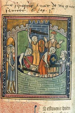« Prise d'Antioche par les croisés en 1097 », Histoire d'Outremer de Guillaume de Tyr, f°49.