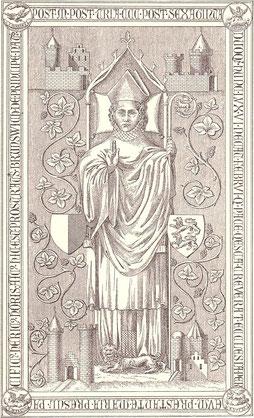 Die (verlorene) Grabplatte Heinrichs III.; Zeichnung von 1787: zu Seiten des Bischofs die Wappen des Stifts Hildesheim und des Herzogtums Braunschweig; in den Ecken die vier von ihm erworbenen Burgen Marienburg, Wiedelah, Schladen und Woldenstein