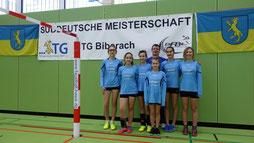 v.l.n.r.: Jasmin Straub, Benita Höckele, Amelie Bäuerle, Jana Wenzdorfer, Hanna Störkle, Pandorra Knäbe,  u. Trainer Bernd Wenzdorfer