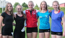 Letztes Jahr Verbandsmeisterinnen U16 mit Rheinlandrekord: Die Truppe des VfB Wissen (Hassel, Lautner, Lemke, Weller, Schneider)