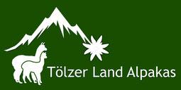 Logo Tölzer Land Alpakas mit 2 weißen Alpakas vor Bergrelief auf grünem Hintergrund