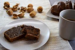 Rezept für Kuchen mit Schokolade und Nuss. Ohne Creme und saftig.