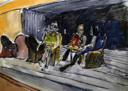 Menschen sitzen bei einem Drink in der hafenbar in alicante