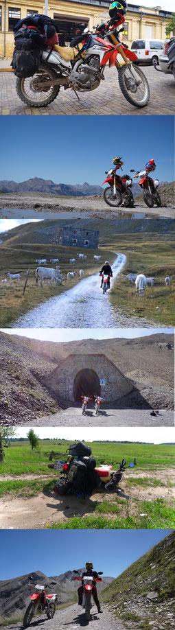 Collage aus Col du Parapaillon, Assieta Kammstrasse Italien, TET Baltikum Latvia, CRF250L