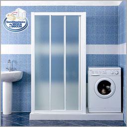 Soluzione da vasca a box doccia con lavatrice, asciugatrice o lavatoio