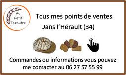 Points de vente pain bio petit épeautre Hérault 34