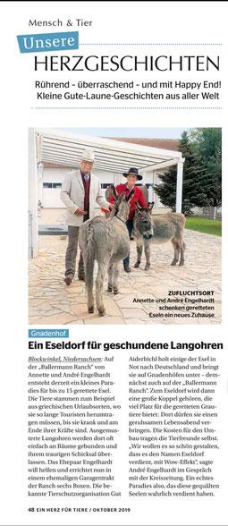 EIN HERZ FÜR TIERE - Das Magazin, Ausg. 10/2019 bei Annette u. Andre Engelhardt